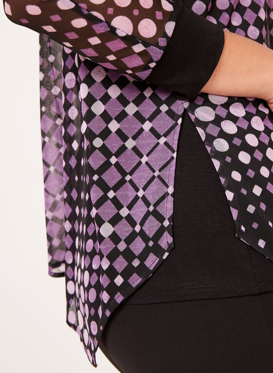 Geometric Print Mesh Top, Purple, hi-res