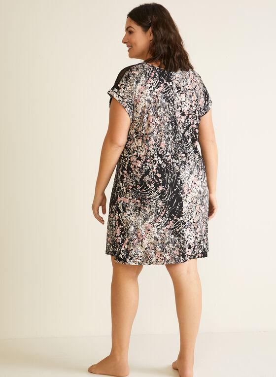 Floral Print Nightgown, Black