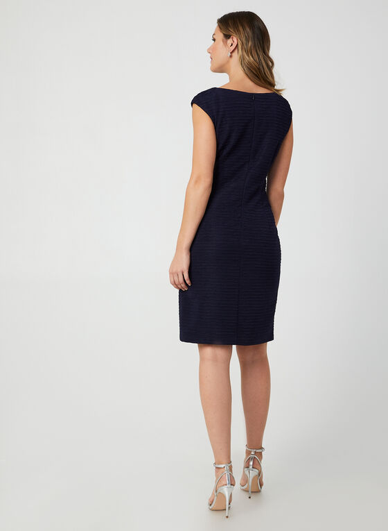 Embellished Neck Sheath Dress, Blue