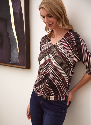 Stripe Print V-Neck Top, Red,  made in Canada, top, V-neck, 3/4 sleeves, dolman sleeves, stripe print, fall winter 2021