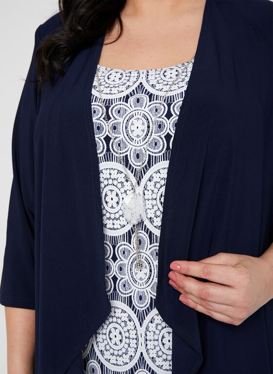 Robe motif médaillon avec cardigan et collier, Bleu, hi-res