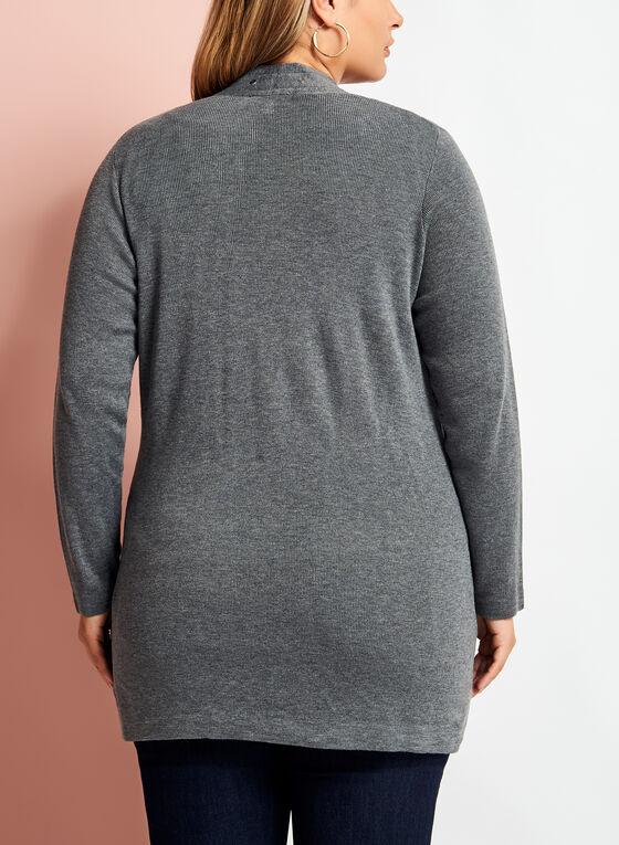 Long Sleeve Studded Edge Cardigan, Grey, hi-res