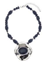 Collier bi-colore avec pendentif surdimensionné, Bleu, hi-res