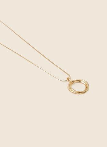Double Ring Pendant Necklace, Gold,  jewellery, necklace, golden, twist, metallic, ring, pendant, fall winter 2020