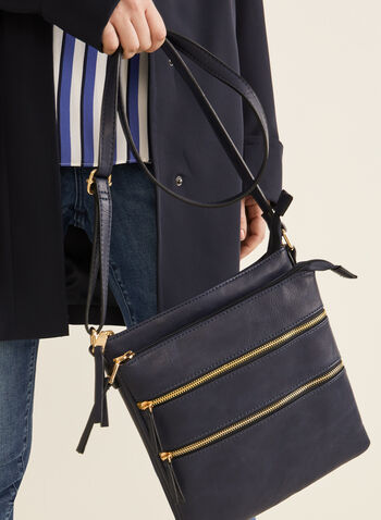Zipper Crossbody Bag, Blue,  bag, crossbody, leatherette, faux leather, zipper, spring summer 2020