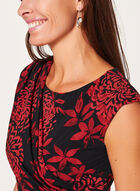 Robe fleurie drapée à effet cache-cœur, Rouge, hi-res
