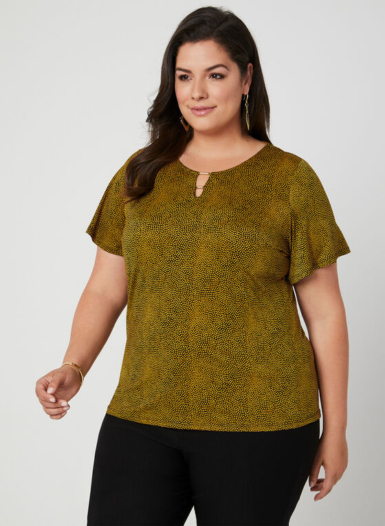 Speckled Dot Print Top, Yellow
