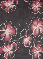 Foulard fleuri en tissu brossé et franges, Noir, hi-res