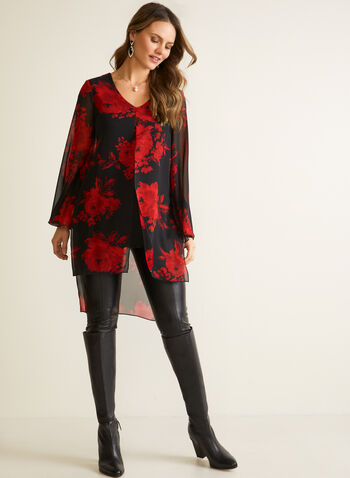 Compli K - Floral Print Tunic Blouse, Black,  blouse, tunic, floral, chuffon, high low, long sleeves, v-neck, fall winter 2020