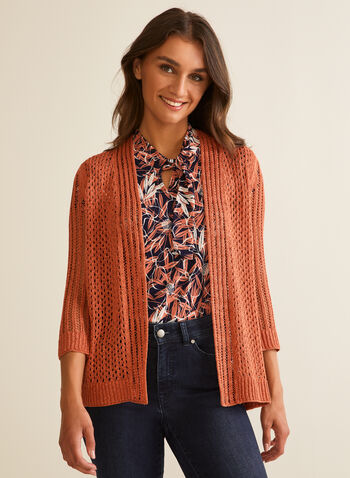 Pointelle Knit Cardigan, Orange,  spring summer 2020, 3/4 sleeves, pointelle knit, open front, cardigan