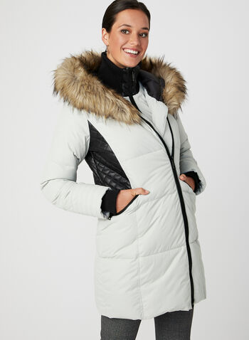 Hooded Faux-Down Quilted Coat, Off White, hi-res