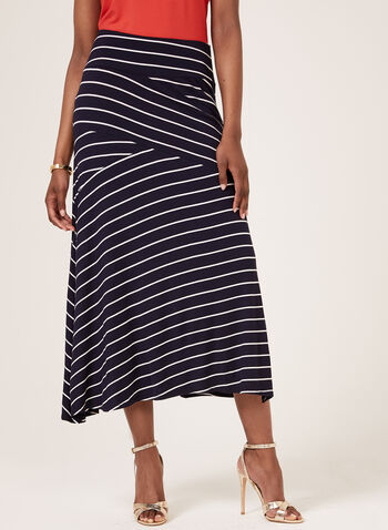 Tribal – Asymmetric Stripe Print Maxi Skirt, Blue, hi-res
