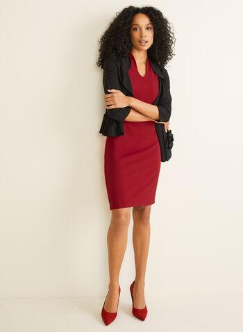 Nina Leonard - Robe fourreau sans manches, Rouge,  robe cocktail, sans manches, col tunisien, crêpe, fourreau, automne hiver 2019