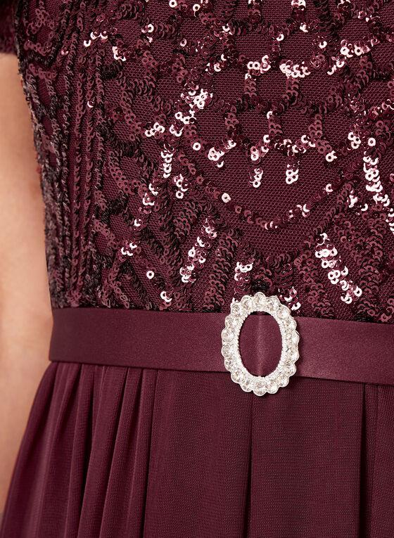 Sequin & Mesh Jersey Dress, Red, hi-res