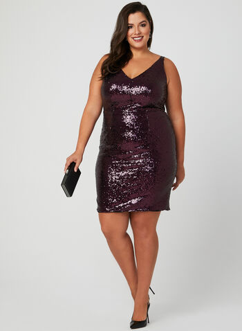 Sleeveless Sequin Dress, Red, hi-res