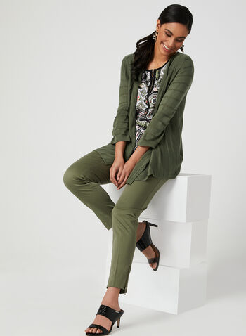 Open Front Knit Cardigan, Green, hi-res,  ¾ sleeves, 3/4 sleeves, spring 2019, pointelle