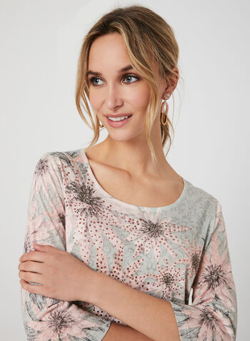 Floral Print ¾ Sleeve T-Shirt, Multi,  t-shirt, 3/4 sleeves, lace, floral print, rhinestones, fall 2019, winter 2019
