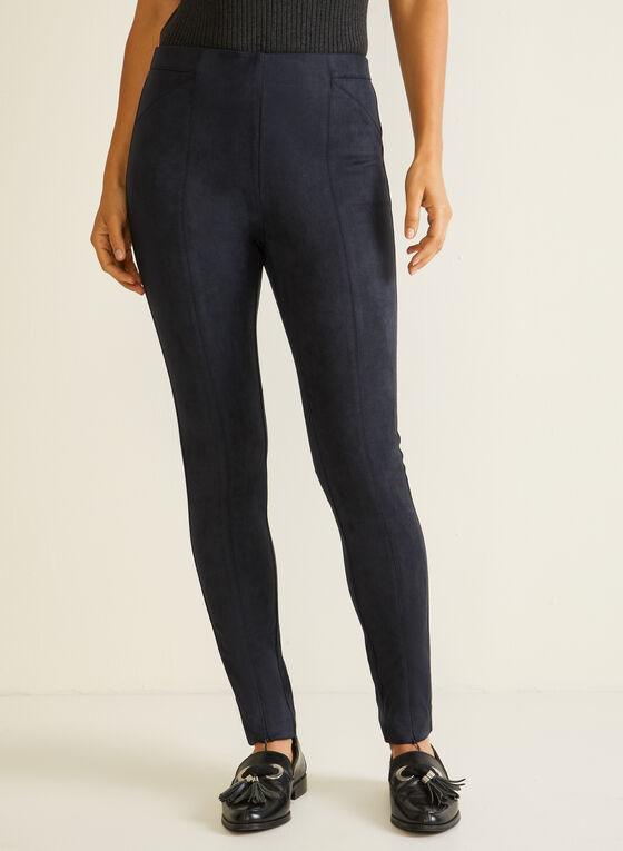 Zipper Detail Faux Suede Leggings, Blue
