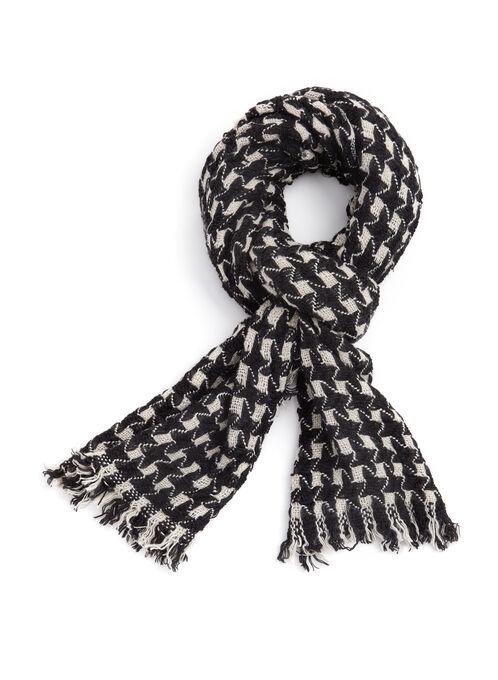 Foulard tricot à carreaux et franges, Noir, hi-res
