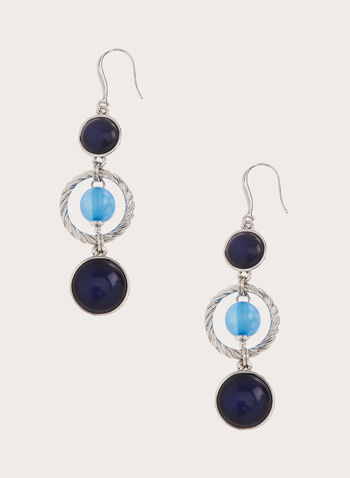 Tiered Stone Dangle Earrings, Blue, hi-res