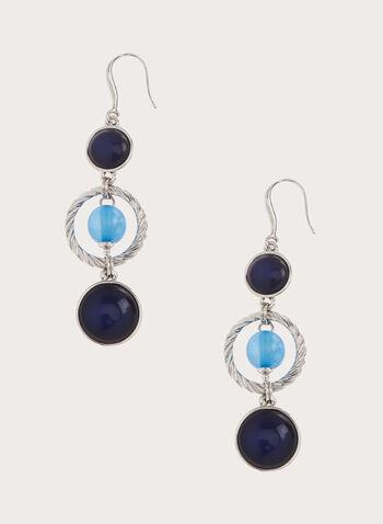 Boucles d'oreilles à pendants ovales et anneau torsadé, Bleu, hi-res
