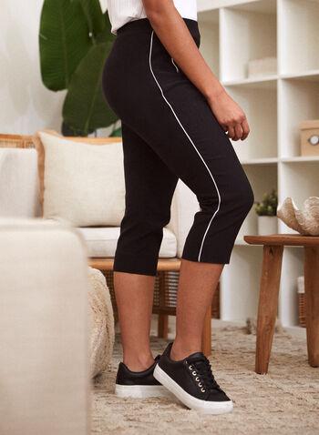 Capri à poches et liséré contrastant, Noir,  pantalon, capri, fait au canada, taille mi-haute, pull-on, à enfiler, jambe étroite, poches, contrastes, liséré, printemps été 2021