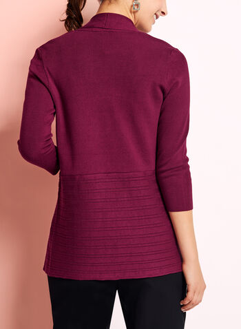 Open Front Pointelle Cardigan, , hi-res