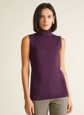 Sleeveless Turtleneck Sweater, Purple,  sweater, sleeveless, turtleneck, rib knit, fall winter 2020