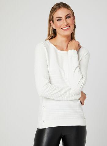 Pull en tricot ottoman à boutons, Blanc cassé, hi-res