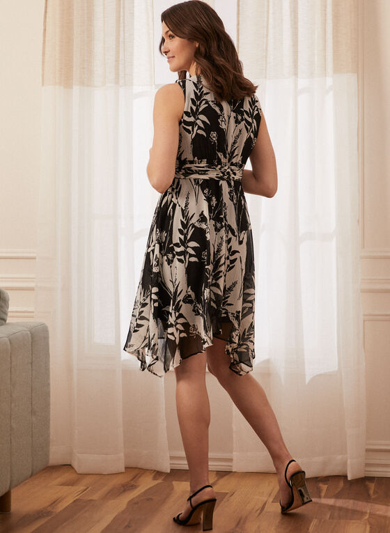 Leaf Print Sleeveless Dress, Black
