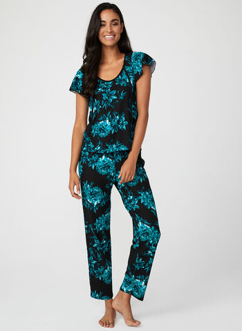 Floral Print Pyjama Set, Black, hi-res