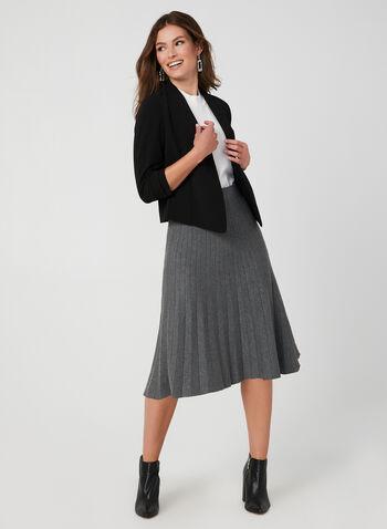 Veste courte à manches ¾, Noir, hi-res,  automne hiver 2019, veste, blazer, court, manches longues, manches ¾, crêpe, asymétrique
