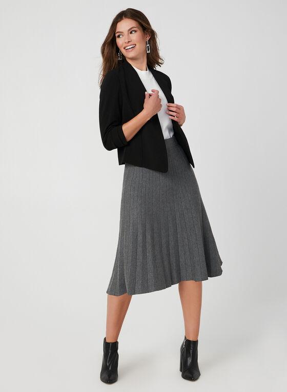 Short Fitted Crepe Blazer, Black