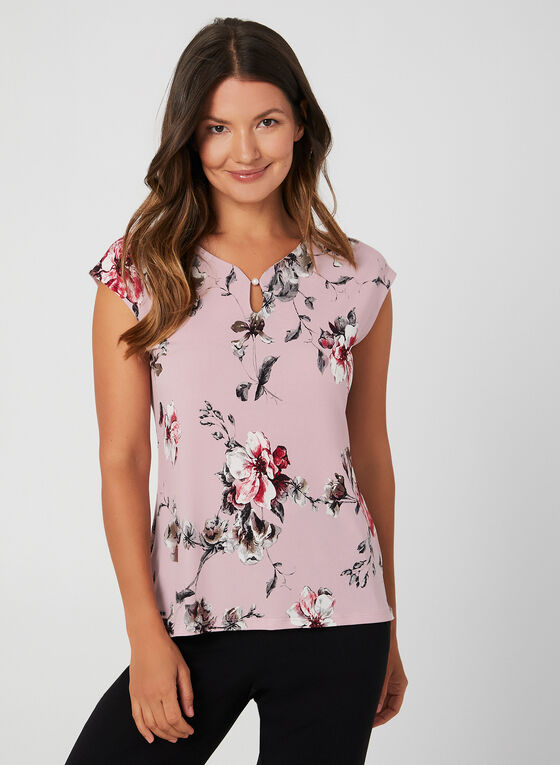 Floral Print Top, Purple, hi-res