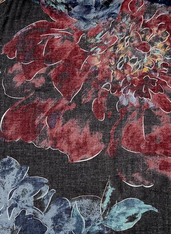 Lightweight Floral Print Scarf, Blue, hi-res