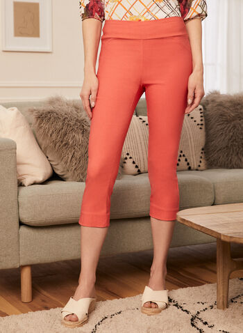 Pull-On Slim Leg Capris, Orange,  capris, slim leg, pull-on, made in Canada, spring summer 2021
