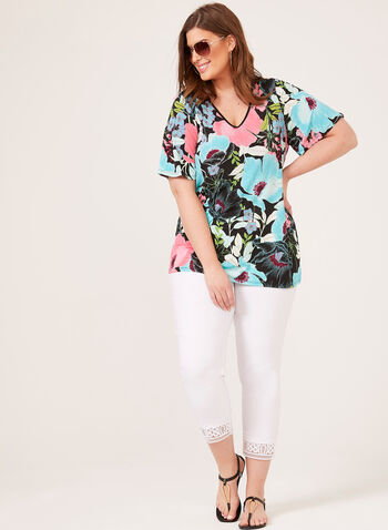 Floral Print Drop Shoulder Top, Blue, hi-res