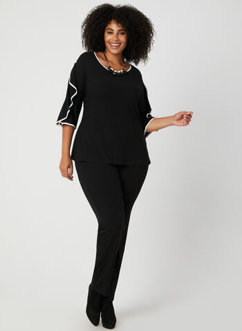3/4 Ruffle Sleeve Top, Black, hi-res,  fall winter 2019, stretchy crepe, ruffle, blouse, 3/4 sleeves
