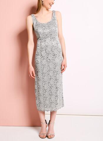 Glitter Lace Dress with Ruffle Trim Bolero, , hi-res