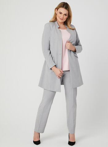 Long Notch Collar Blazer, Grey, hi-res