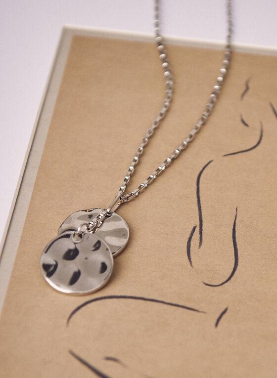 Collier à pendentif métallique martelé, Argent