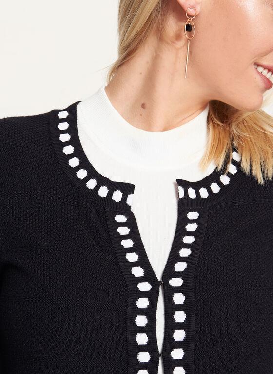 Cardigan tunique imprimé en tricot , Noir, hi-res