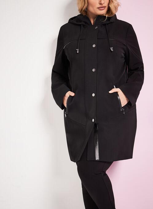 Nuage - Manteau avec détails en similicuir, Noir, hi-res