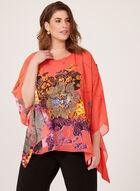 Ness - Blouse poncho à imprimé floral , Orange, hi-res