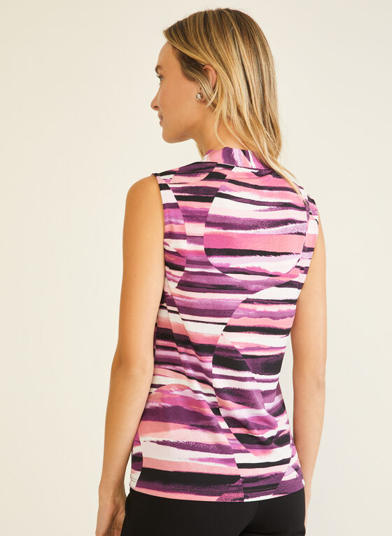 Abstract Print Tie Neck Top, Multi