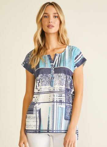 Abstract Print T-Shirt, Blue,  t-shirt, short sleeves, henley, abstract, high low, linen, spring summer 2020