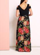 Robe à épaules dénudées motif floral, Noir, hi-res