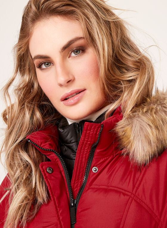Quilted Faux Fur Hooded Coat , Red, hi-res