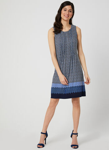 Chain Print Jersey Dress, Blue, hi-res