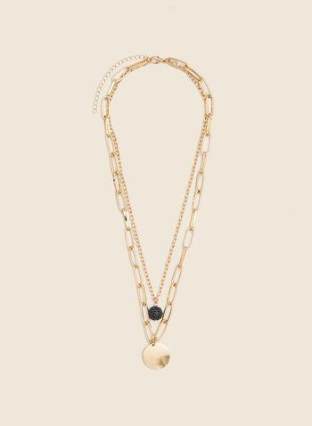 Collier double rang à bille et médaillon, Noir,  automne hiver 2020, collier, bijou, accessoire, pendentif, bille, disque